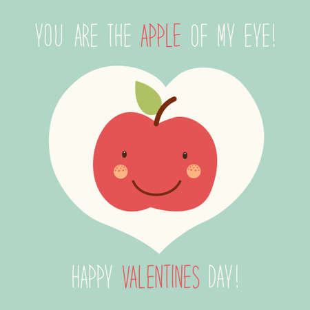 Cute unusual hand drawn Valentines Day card with funny cartoon character of apple and hand written note. Illustration
