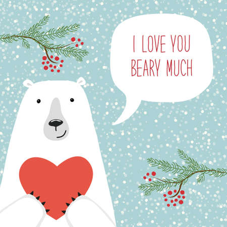 Cute retro hand drawn Valentines Day card as funny Bear with Heart and speech bubble with quote I Love You Beary Much Фото со стока
