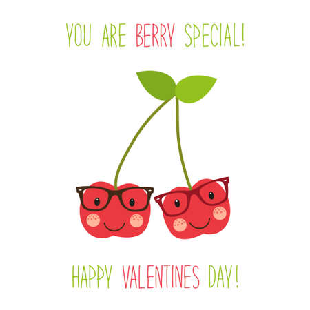 Cute unusual hand drawn Valentines Day card with funny cartoon characters of cherries