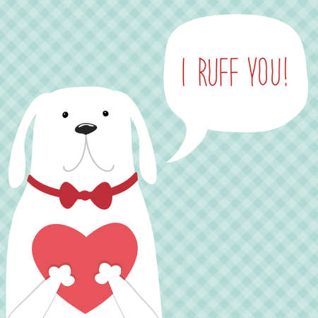 Cute retro hand drawn Valentines Day card as funny Dog with Heart and speech bubble Stock Photo