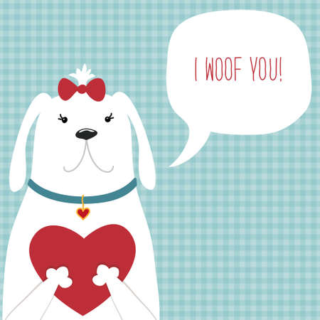 Cute retro hand drawn Valentines Day card as funny Dog with Heart and speech bubble Фото со стока