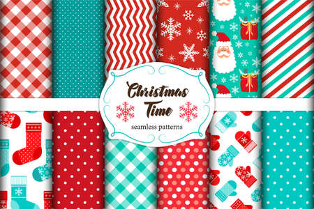 Set of 12 cute seamless Christmas Time patterns with traditional ornaments ideal for your decoration as wrapping paper, scrap booking, fabrics design etc