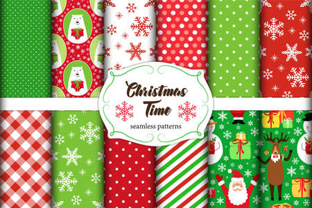Set of 11 cute seamless Christmas Time patterns with traditional ornaments ideal for your decoration as wrapping paper, scrap booking, fabrics design etc