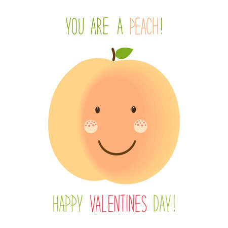 Cute unusual hand drawn Valentines Day card with funny cartoon characters of peach Illustration