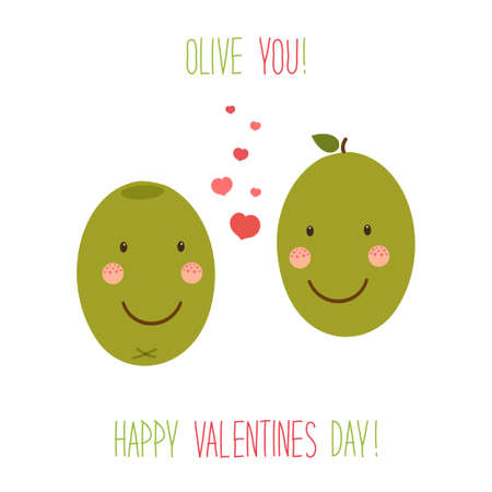 Cute unusual hand drawn Valentines Day card with funny cartoon characters of olive