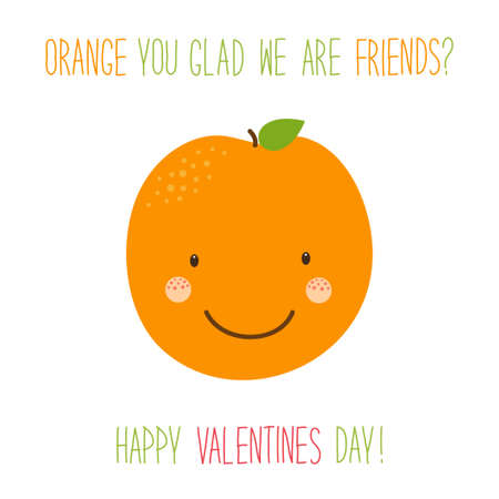 Cute unusual hand drawn Valentines Day card with funny cartoon characters of orange Illustration