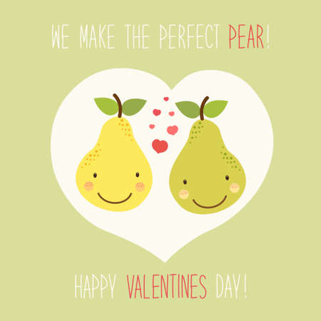 Cute unusual hand drawn Valentines Day card with funny cartoon characters of pear and hand written note