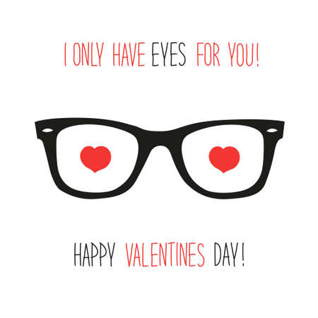 Cute unusual vintage Valentine's Day card with funny glasses and heart shaped eyes Illustration