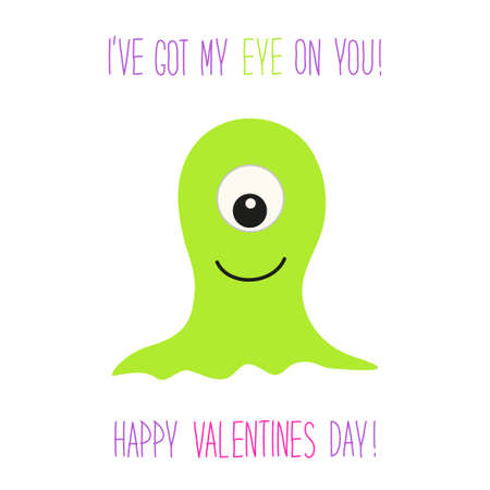 Cute unusual Valentines Day card with funny cartoon monster.