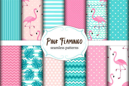 Cute set of Pink Flamingo tropical vibes seamless patterns. Vector illustration.