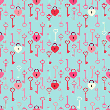 Cute Valentines day seamless pattern with keys and locks Illustration