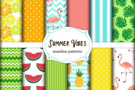 Cute set of summer vibes seamless patterns.