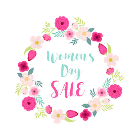 Cute hand drawn International Womens Day sale banner as rustic wreath with different first spring flowers
