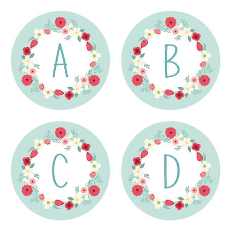 Cute vintage alphabet as rustic wreath with hand drawn flowers and hand written letters