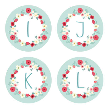 Cute vintage alphabet as rustic wreath with hand drawn flowers and hand written letters for your decoration