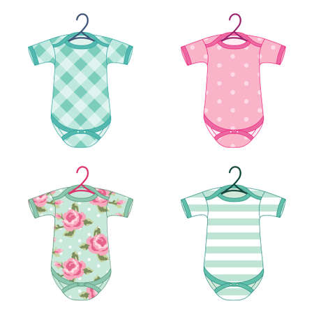 Newborn baby clothes in shabby chic style Vectores