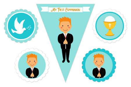 Cute set of printable elements for First Communion for boys