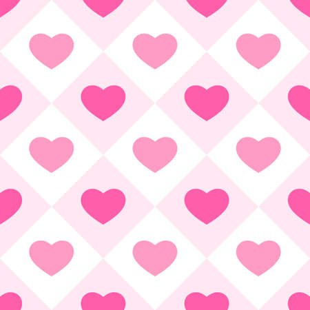 Cute primitive retro pattern with hearts on plaid background