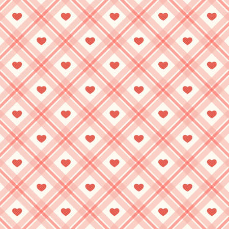 Cute primitive retro pattern with small hearts on plaid background
