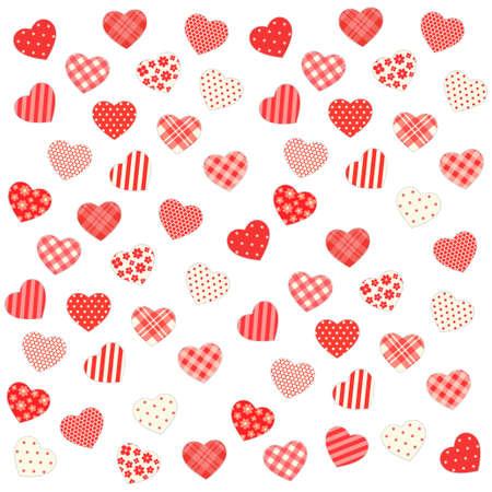 Cute retro Valentines Day background with hearts Illustration