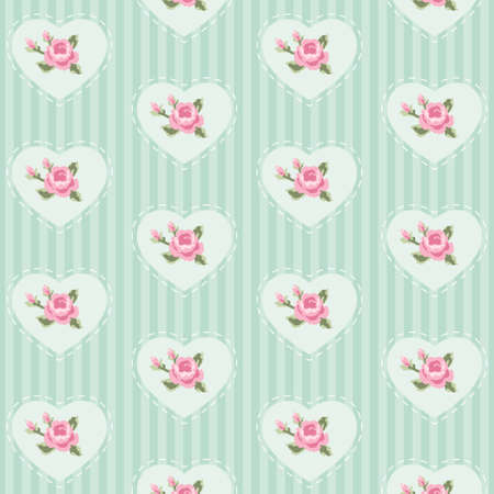 Cute seamless vintage pattern with hearts in shabby chic style, cyan green color