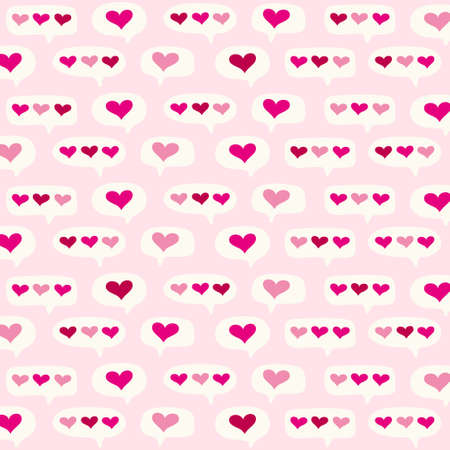 Cute primitive retro pattern with hearts and speech bubbles in pink background