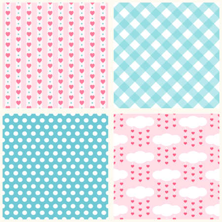 Set of cute retro primitive seamless patterns with hearts, polka dots and gingham Illustration