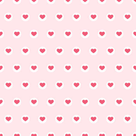Cute primitive retro pattern with small hearts on dots pink background