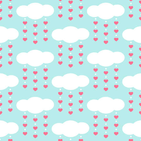 Set of cute retro primitive seamless patterns with clouds and hearts o blue background Illustration
