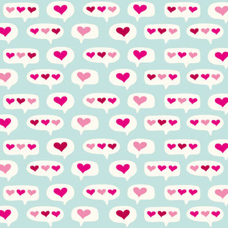 Cute primitive retro pattern with hearts and speech bubbles background