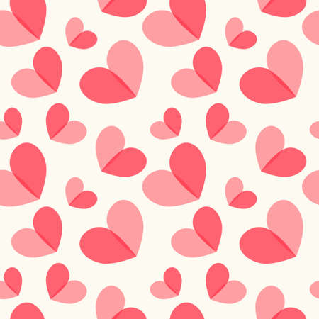 Cute primitive retro seamless pattern with hearts