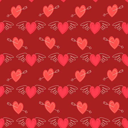 Cute primitive retro seamless pattern with hearts for your decoration Ilustracja