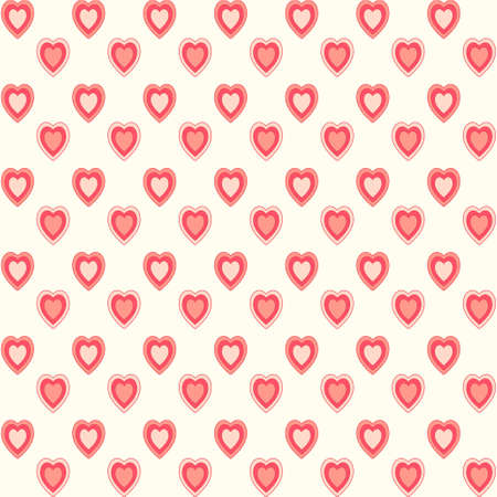 Cute primitive retro pattern with hearts