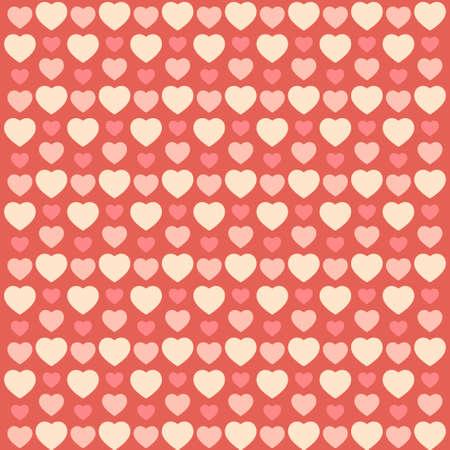 Cute primitive retro pattern with hearts