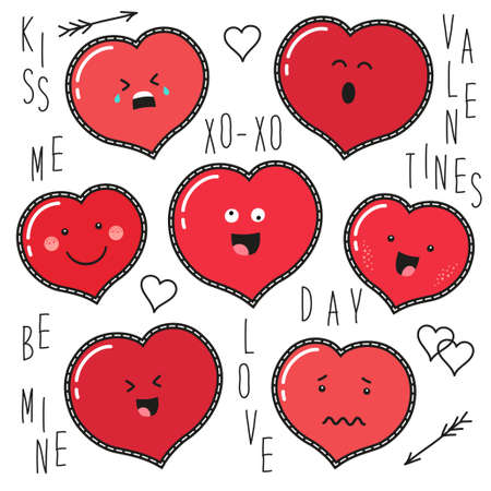 Cute set of fashion patches with cartoon characters of hearts emoji on trendy striped background.