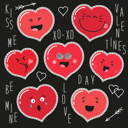 Cute set of fashion patches with cartoon characters of hearts emoji on trendy striped background