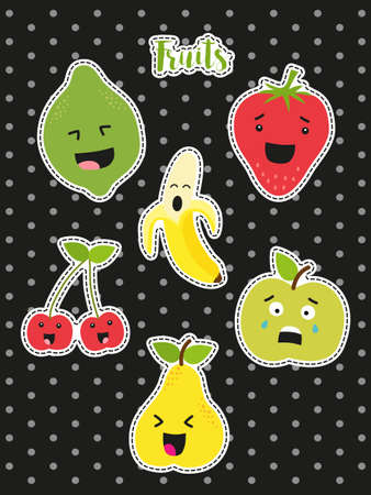 Cute set of fashion patches with cartoon characters of fruits Illustration
