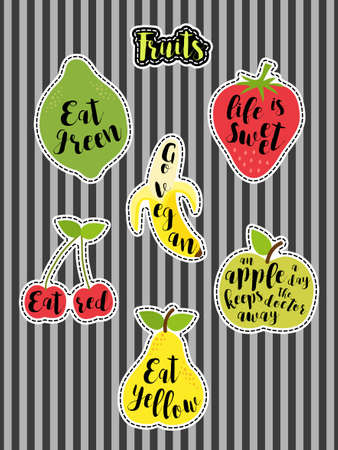Cute set of fashion patches with fruits and lettering. Illustration
