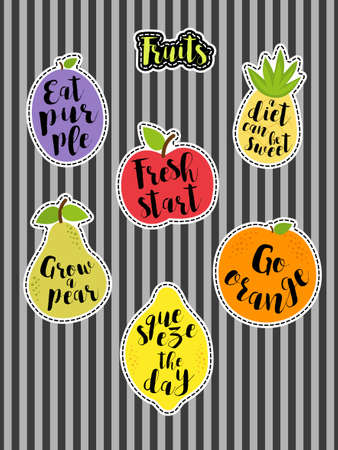 Cute set of fashion patches with fruits and lettering Illustration