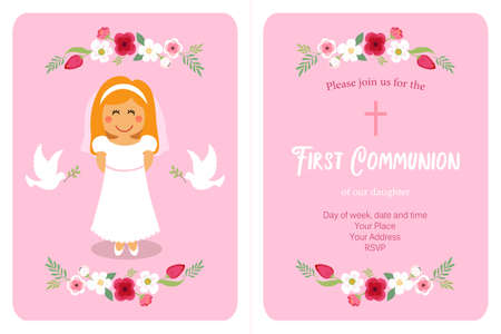 Cute First Communion card for girls in pink colors Vectores