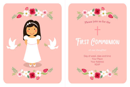 Cute First Communion card for girls in pink colors 向量圖像