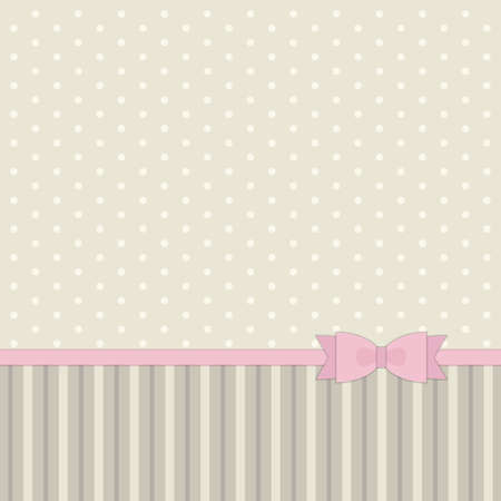 Cute primitive retro pattern with ribbon and bow in shabby chic style for your decoration.
