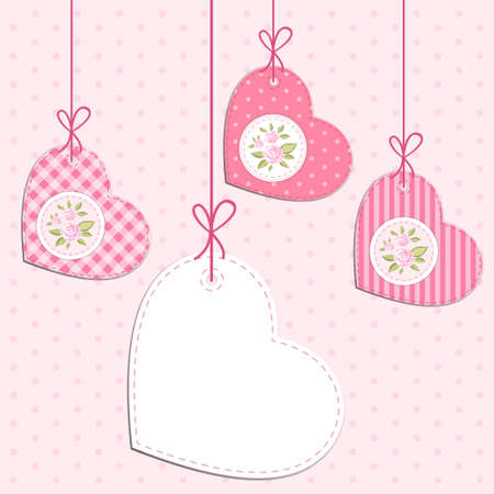 Vintage hearts with roses in shabby chic style with strings