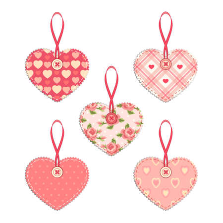 Set of vintage fabric handmade hearts with ribbon and button in shabby chic style Vectores