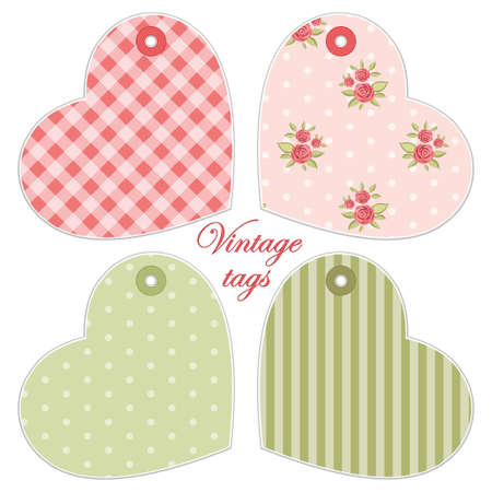 Cute hearts as retro fabric applique in shabby chic style Stock fotó - 91812508