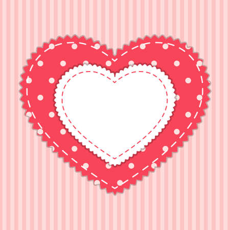 Cute card template with heart as retro fabric applique in shabby chic style Çizim