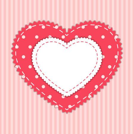 Leuke kaartsjabloon met hart als retro stoffen applique in armoedige chique stijl
