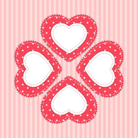 Cute card template with heart as retro fabric applique in shabby chic style Ilustração