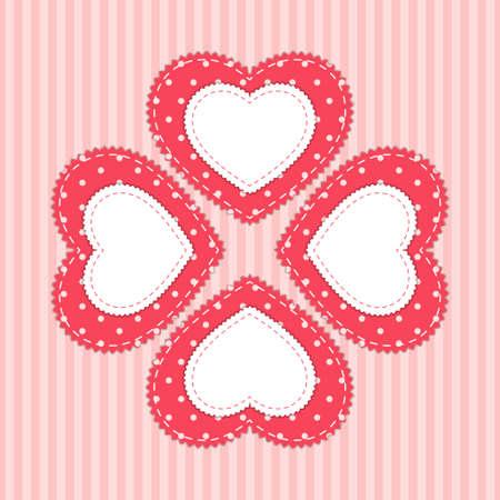 Leuke kaartsjabloon met hart als retro stof stoffen in armoedige chique stijl Stock Illustratie