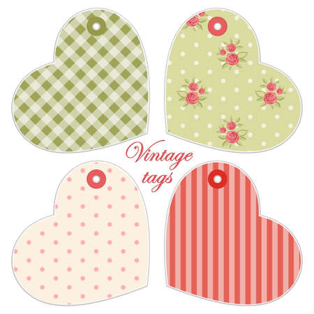 Cute hearts as retro fabric applique in shabby chic style ideal for Valentines day Illustration